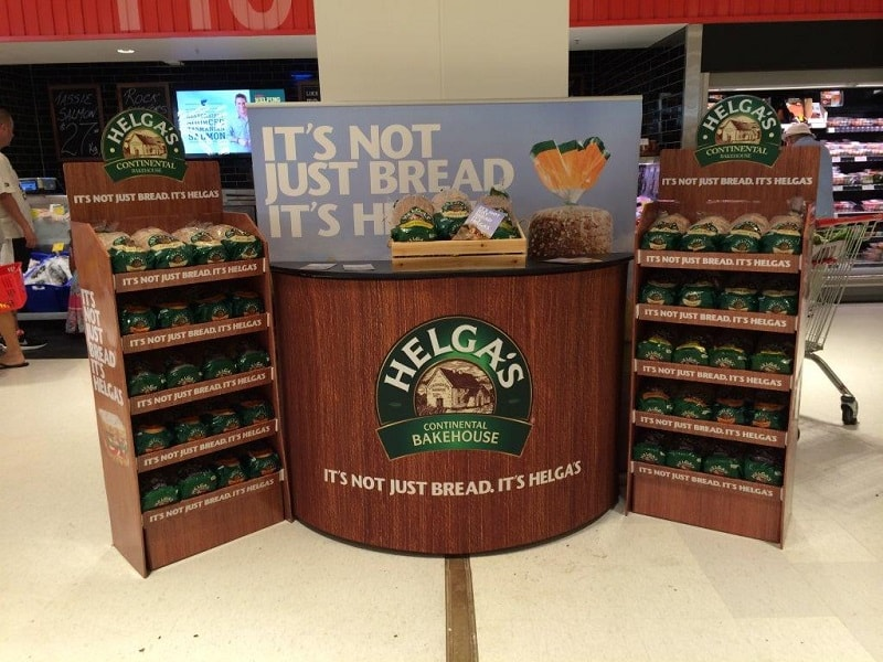 Helga's point of sale counter in Coles.